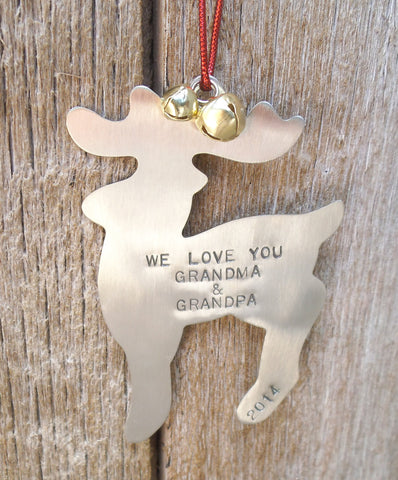 Grandparents Ornament Reindeer Personalized Deer Ornament for Grandpa Ornament for Grandma Hunting Theme Christmas Tree Papa Nona Grandkids