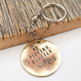 Customized Keychain Fathers Day Gift for Dad's Fishing Buddy Grandpa's Fishing Buddies Fishing Keyring Fish Key Holder Stamped Key Chain Men