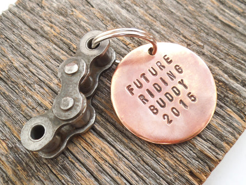 Father's Day Gift for New Dad Personalized Keychain My Riding Buddy Daddy's Motocross Keyring Dirt Bike Gift SX Riding Unique Gender Reveal
