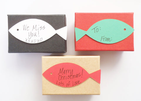 Gift Wrap Option Small Gift Box with Fish Shaped Handwritten Notecard Add On Only Personalized Card with Message of Choice Merry Christmas