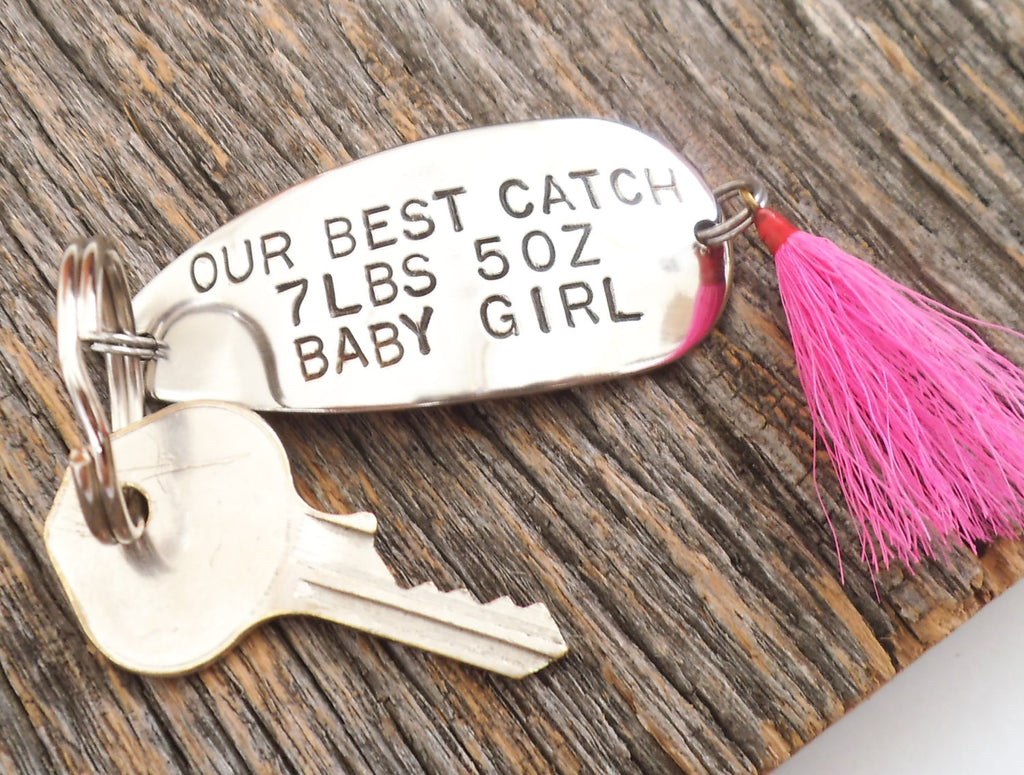 Our best catch personalized fishing lure keychain for for Fishing gifts for dad