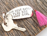 Our Best Catch - Personalized Fishing Lure Keychain for New Parents - Baby Stats Fishing Gift New Dad and New Mom