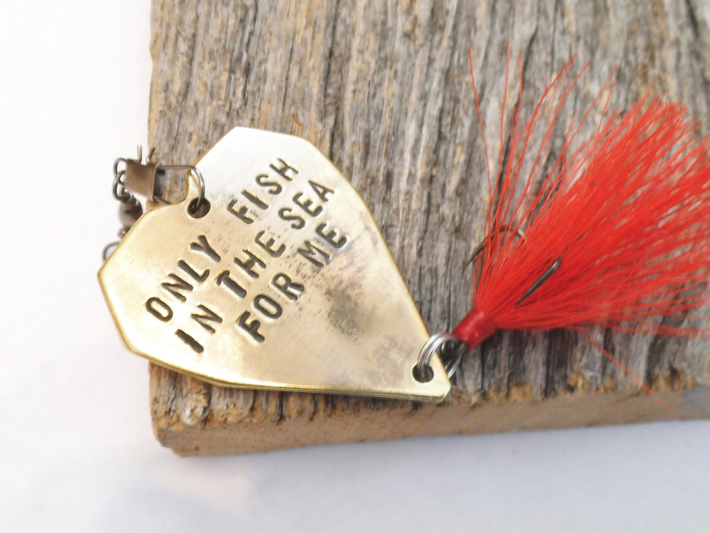 Fathers Day Gift Him Only Fish in the Sea For Me Wedding Favors Man Husband Fish Hook Heart Lure Anniversary Men Father's Day Idea for Guys