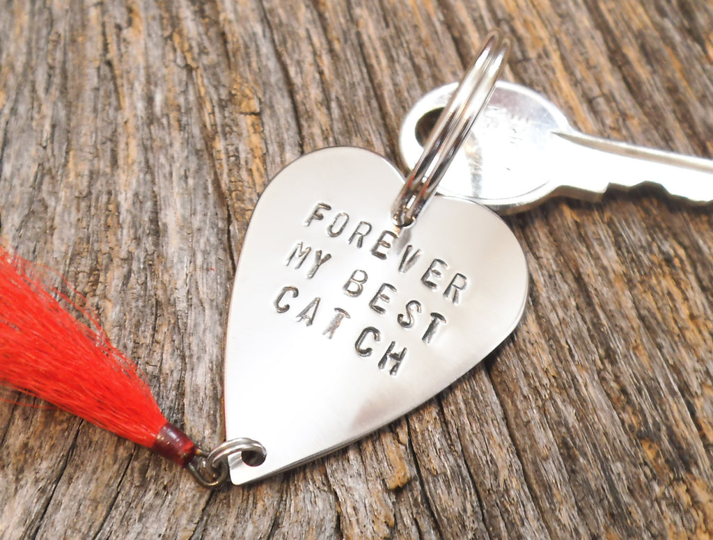 Forever My Best Catch Fishing Lure Keychain Personalized Metal Key chain Husband Mens Gift for Newlywed Engagement Bride Groom