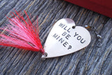 Valentines Fishing Lures for Valentines Day Girlfriend Boyfriend Valentine Gifts for Men Personalized Valentine Hand Stamped Spinner Baits