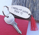 Gift for Special Valentine Boyfriend New Parents Gift for Daddy Husband Keychain for Men High School Sweetheart I Love you I Like You A Lot