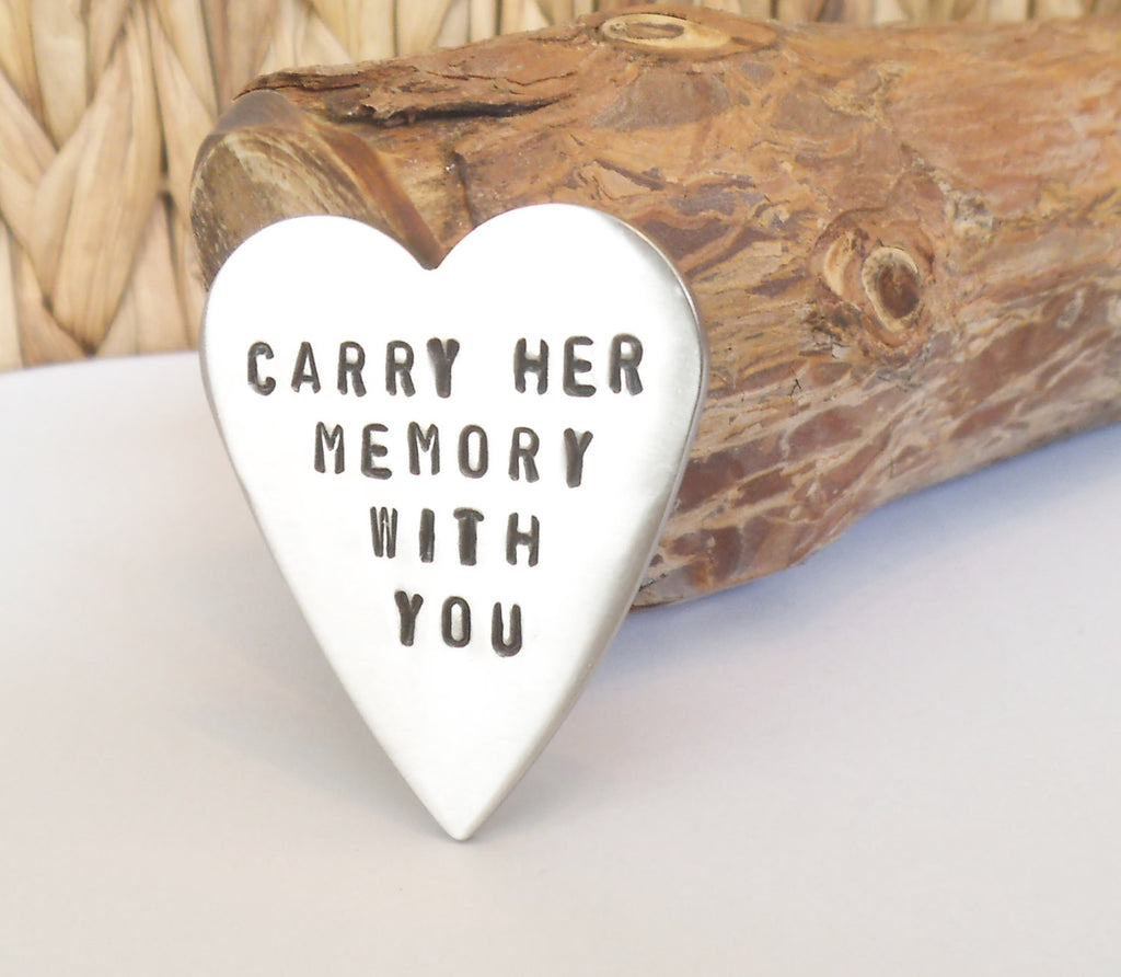 I Carry Your Heart With Me Child Miscarriage Hand Stamped in Memory of Gift Dad Daughter Mom Loss of Wife Death of Parent Memorial Jewelry