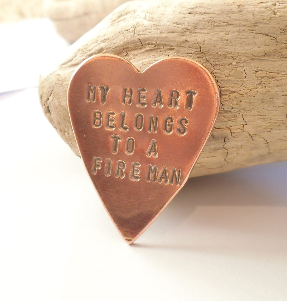 Copper Wallet Insert for Firefighter Daddy My Heart Belongs to a Fireman Husband Fathers Day for