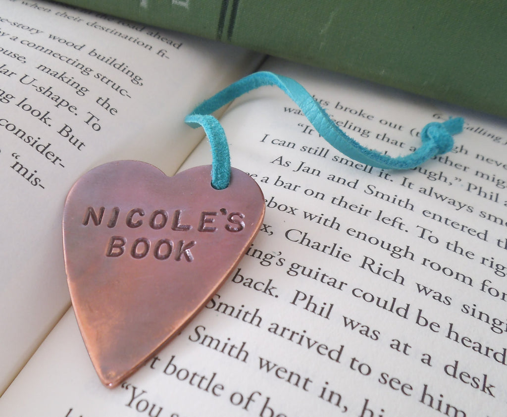 Personalized Bookmark Graduation Gift for Daughter Book Lover Gift for Reader Hand Stamped Book Mark First Communion Gift Small Hostess Gift