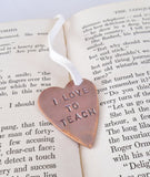 Copper Heart Bookmark Teachers Gift Metal Leather Bookmarker Reader Gift Brass Bronze Stainless Steel New Teacher Graduation I Love to Teach
