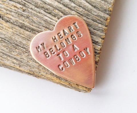 My Heart Belongs to a Cowboy Gifts for Cowgirl Girlfriend Copper Wallet Insert Boyfriend Personalized Rancher Gift Rodeo Jewelry Bull Rider