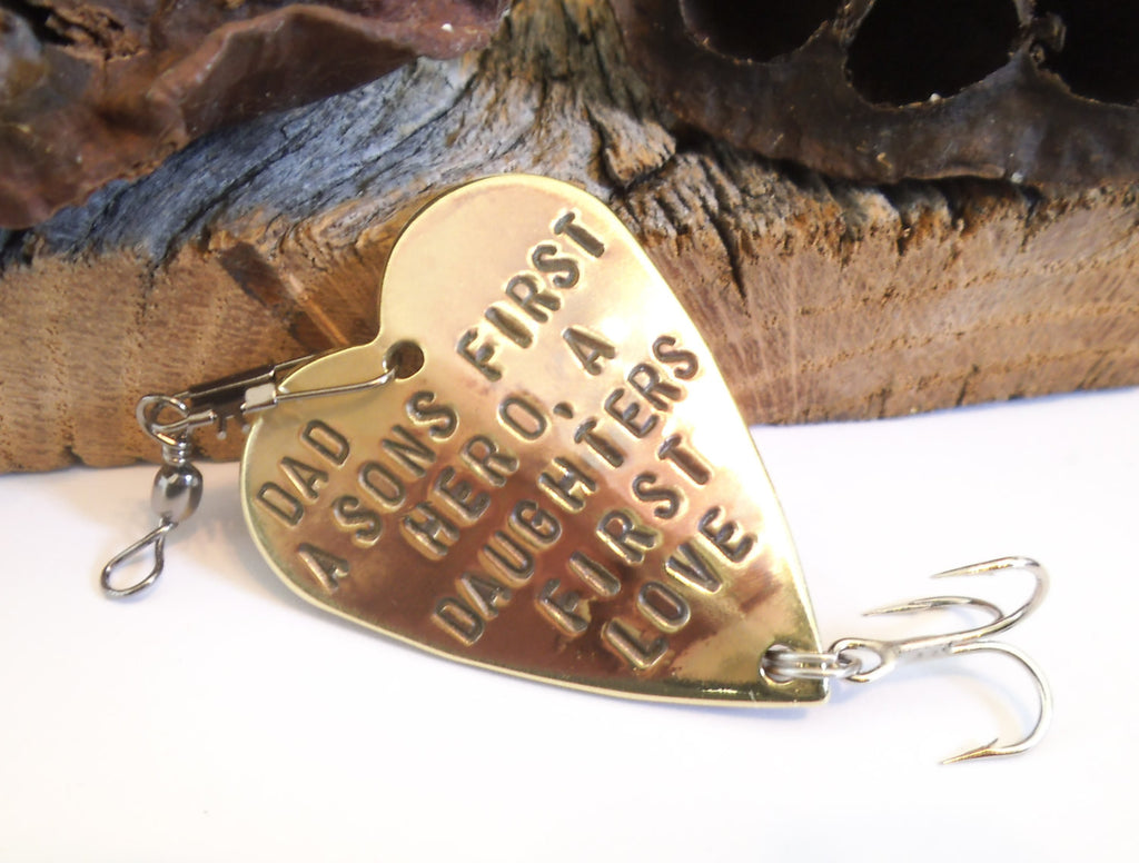 Fathers Day for Dad A Sons First Hero A Daughters First Love Stamped Fishing Lure Gift New Daddy Gift for Husband Gift For Men Gift for Him