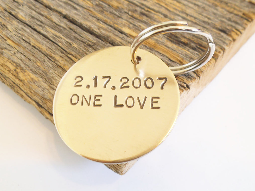 One Love Keychain for Girlfriend Personalized Him Bronze Jewelry Women Key Ring Boyfriend Gift for Husband Anniversary Bronze Gift for Wife