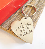 I Love You Keychain with Personalized Date Valentines Day Girlfriend Boyfriend Gift for Wife Wedding Day Mother's Day Mom Metal Keyring Him