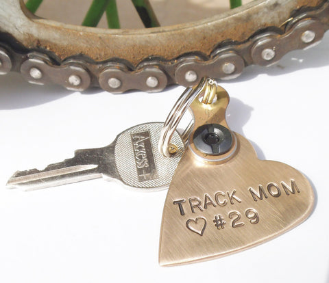 Track Mom Personalized Keychain Mother's Day Gift for Mommy Motocross Mom Gifts I love my Dirt Bike Son Keyring Kawasaki Yamaha Honda KTM