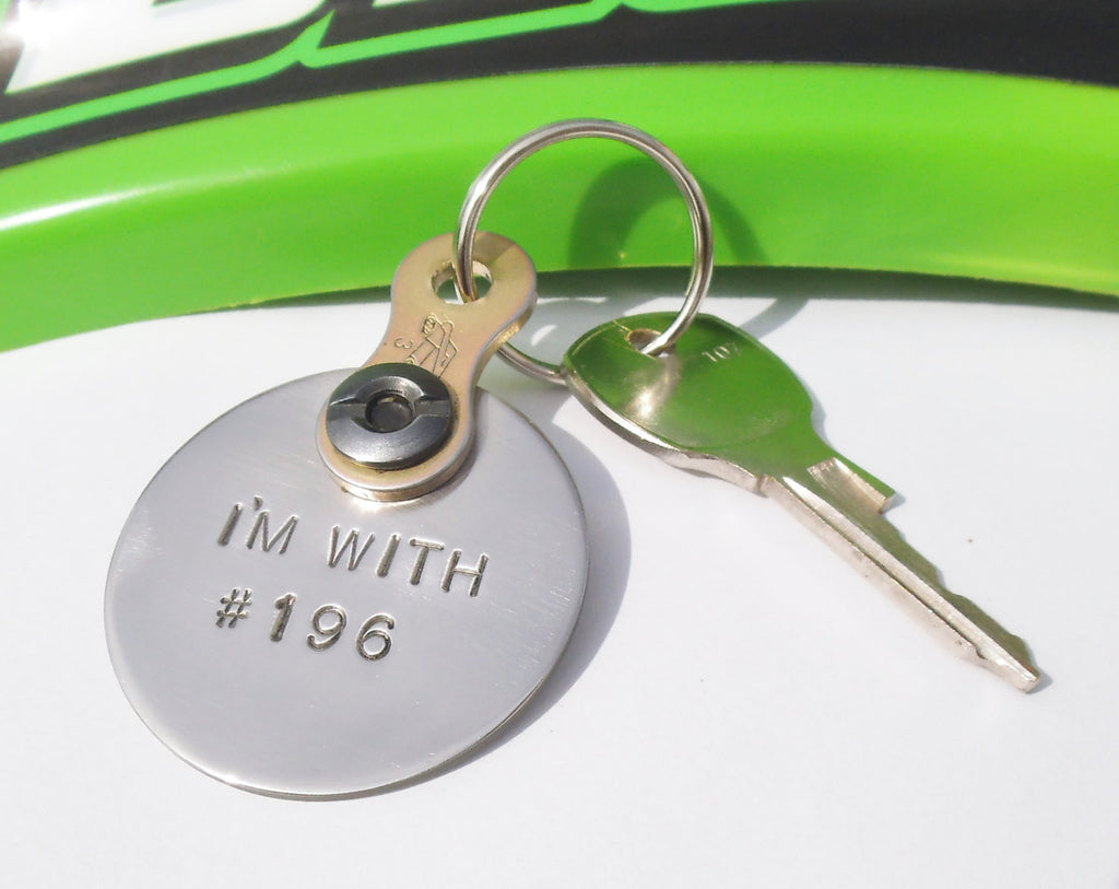 Metal Keychain Husband Dirt Track Racing Dirtbike Chain Keyring Moto Couple MX Outdoor Sport Got Dirt I'm With Number Taken Keychain Him Her