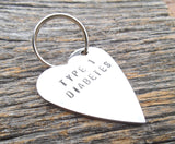 Type 1 Diabetes Alert Keychain for Kids Insulin Dependent Charm Type 2 Diabetic Juvenile Medical Gift Tag for Children Jewelry Tag Backpack