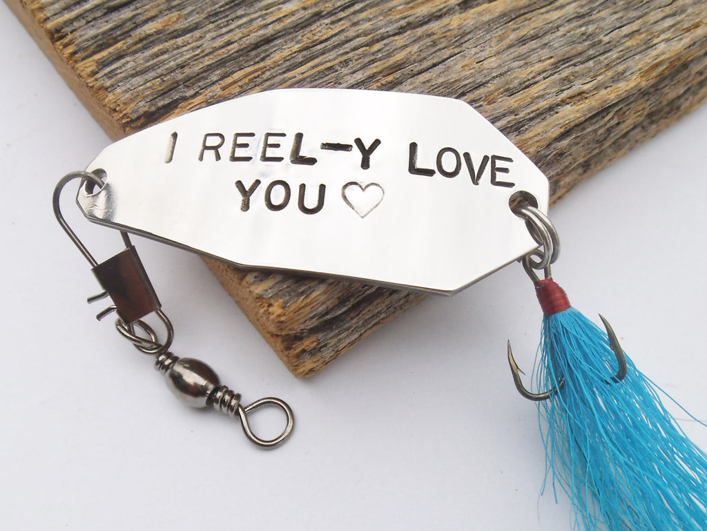 Personalized Men Fishing Lure I Love You Gift for Anniversary Groom to Bride Before Wedding Day Personalized Her Birthday Gift