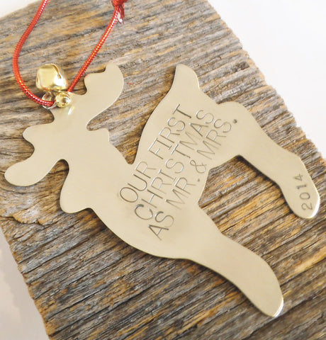 Handstamped Christmas Ornament Personalized Married Ornament Our 1st Christmas as Mr and Mrs Just Wed Gift Wedding Gift Son In Law Daughter
