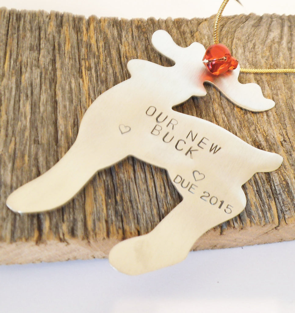 Unique Birth Announcement Ornament Our New Buck Baby's Due Date Christmas Ornament Gender Reveal Idea Decorations Baby Shower Gift Mom To Be
