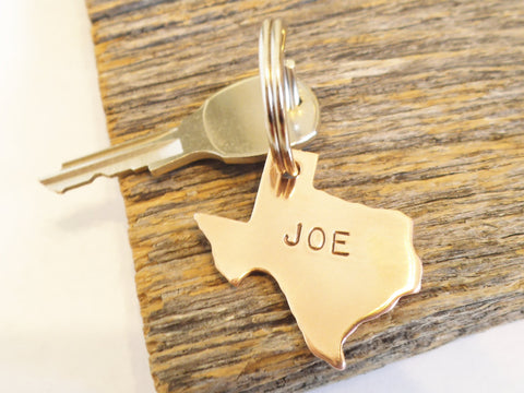 Texas State Keychain Home State Key Chain Personalized Keyring with Name Custom Keychain Metal Key Fob Mens Gift for Birthday Brother in Law