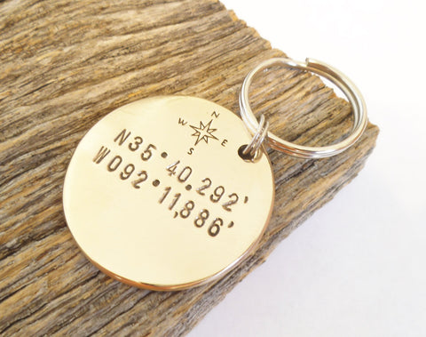 Personalized GPS Coordinate Keychain Compass Keychain Navigation Where We Met Key Chain North South East West Latitude Longitude Keyring Men
