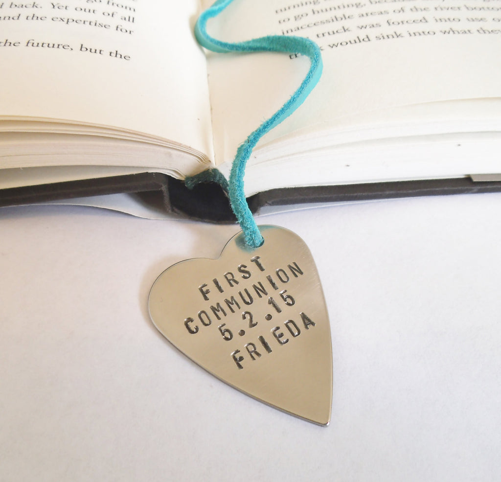 First Communion Gift Girl First Communion Favors 1st Communion Bookmarks Metal Heart and Leather Bookmark Baptism Gift Religious Present