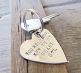 You Hold the Key to my Heart Keychain Deployment Gift Boyfriend Girlfriend Gift Set Jewelry for Her Handstamped Best Friend Keyring Sisters