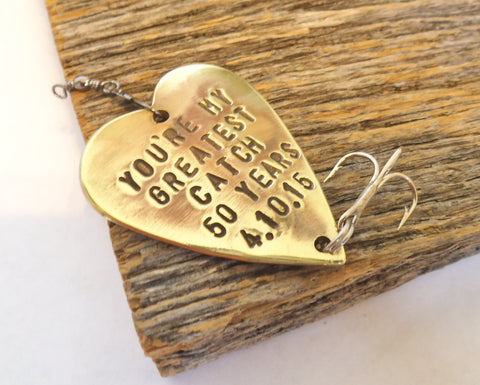 50th Anniversary Gift Golden Anniversary Mom and Dad Fiftieth Birthday Gift Personalized Fishing Lure Favor 50th Wedding Husband and Wife
