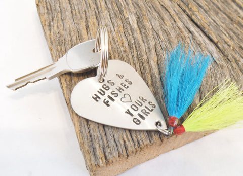 Gifts for Daddy Gift for Father Day to Dad from Daughter Fishing Lure Keychain Husband Hugs and Fishes Keepsake for Parent from Kids Present