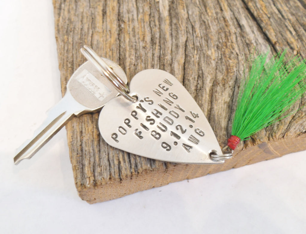 Father's Day Keychain for Poppy Keyring for Grandpa Custom Key Ring Personalized Keychain Fly Fishing Keychain Fishing Lure 1st Father's Day