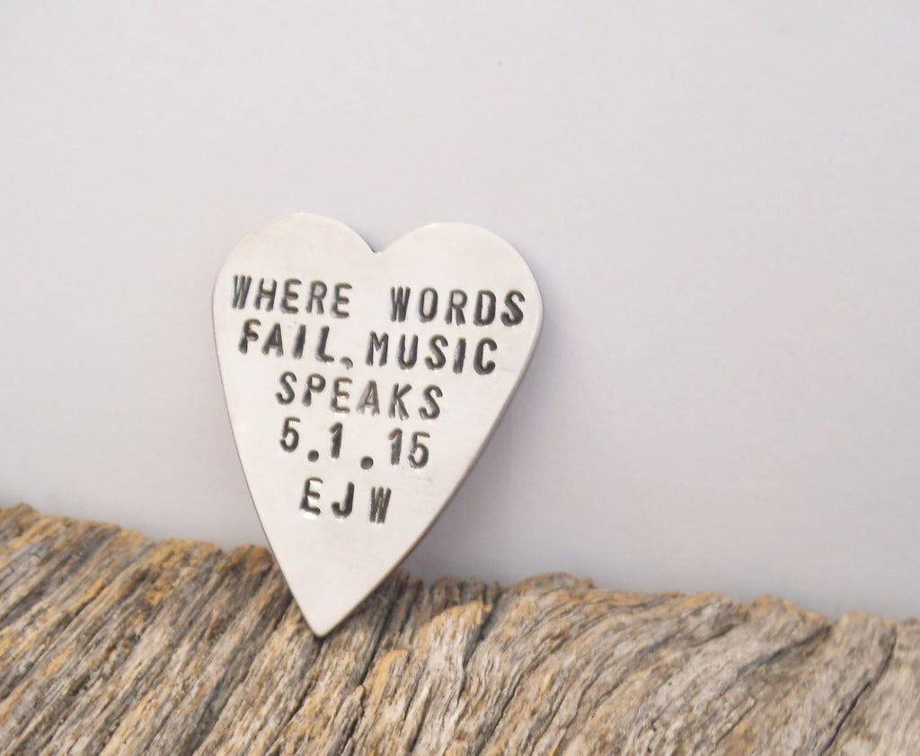 Personalized Guitar Picks Personalized for Him Boyfriend Gift for Anniversary Where Words Fail Music Speaks Custom Guitar Pick Husband Mens