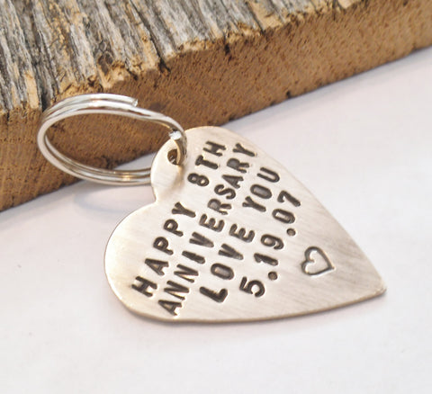 Annivesary Keychain for Wife 8 Year Anniversary for Husband 8th Anniversary Gift for Him Eighth Wedding Anniversary Bronze Jewelry Charms