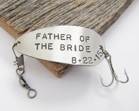 Father of the Bride Gift - Customized Fishing Lure Personalized with Title and Special Date