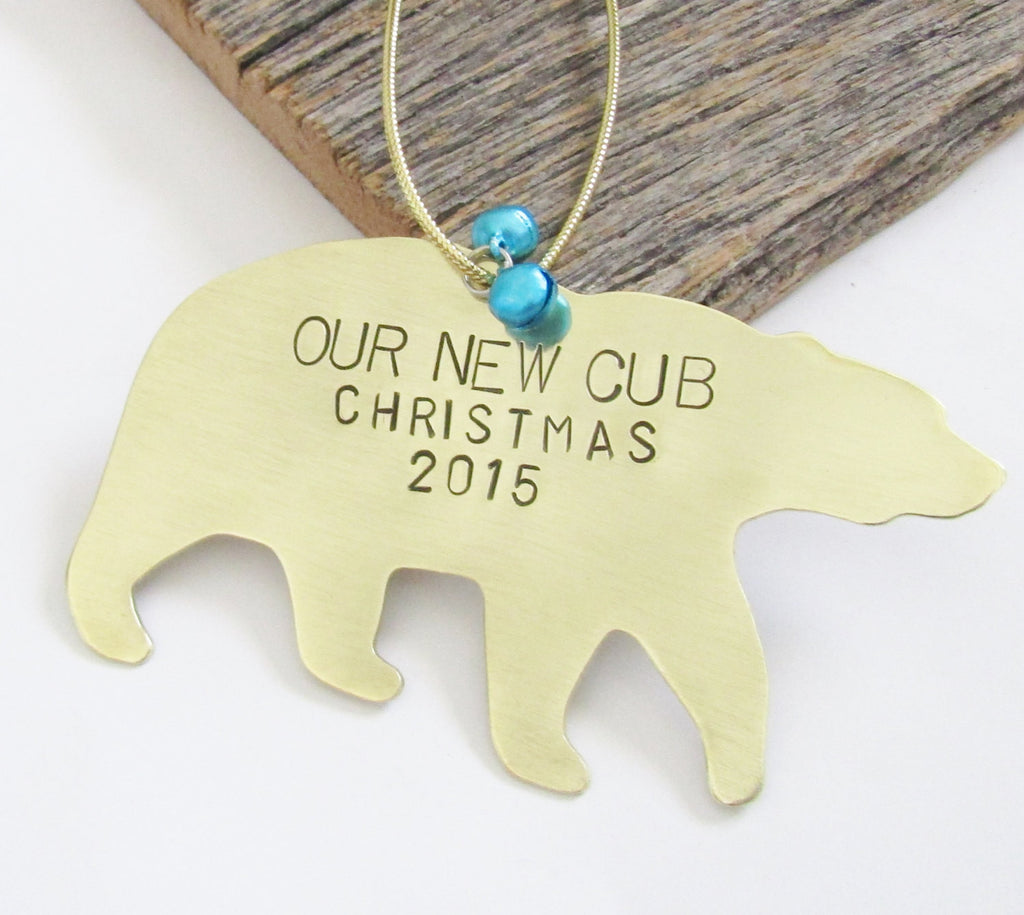 babys first christmas ornament baby boy gift new parents ornament 1st christmas our new cub personalized - Baby Boy First Christmas Ornament