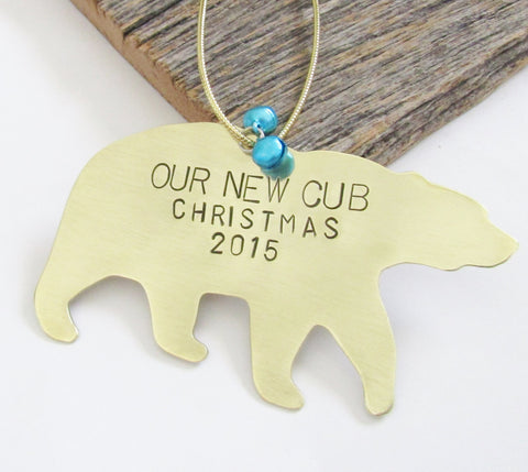 Baby's First Christmas Ornament Baby Boy Gift New Parents Ornament 1st Christmas Our New Cub Personalized Gender Reveal Mama Bear Baby Bear