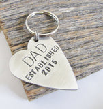 First Time Dad Keychain New Daddy Keychain for Men Keyring Grandpa Key Chain Father Key Fob for Him Custom Keychain Personalized Keychains