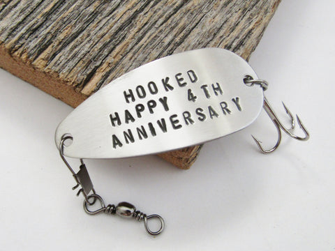 4th Anniversary Gift for Him 4 Year Anniversary Fourth Wedding Annivesary Gift for Wife Gift for Her Steel Anniversary Fishing Lure Couple