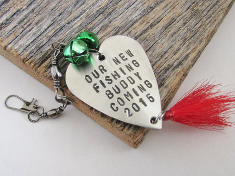 Our New Fishing Buddy Coming 2015 Fishing Lure Ornament Birth Announcement Handmade Ornament Hand Stamped Tree Ornament Christmas Ornament