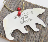 God Bless Our Cabin - Personalized Housewarming Ornament for New Home