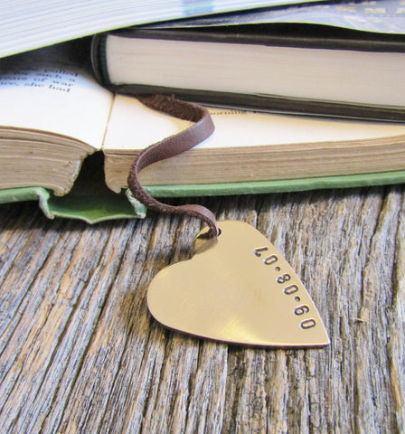 Anniversary Bookmark Personalized Wedding Bookmark for Him Bookmarks for Wife Anniversary Gift Bronze Book Mark Copper Gift for Husband Men