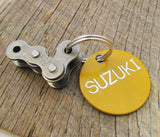 Personalized Suzuki Keychain Biker Gift for Men Bike Rider Uncle Keychain Yellow Chain Accessory Cycling Bag Dirt Bike Racing Offroad Riding