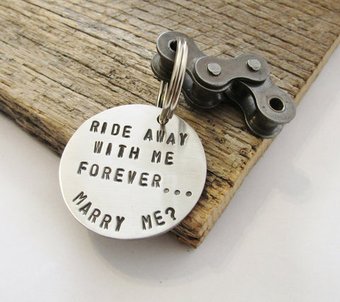 Will you Marry Me Keychain Surprise Proposal Girlfriend Unique Keychain Motorcycle Most Creative Proposal Idea Men Ride Away with Me Forever