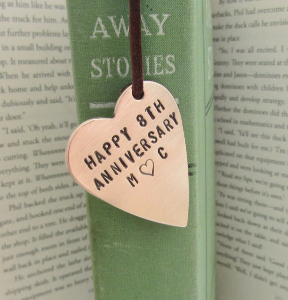 Happy 8th Anniversary Personalized Bookmark With