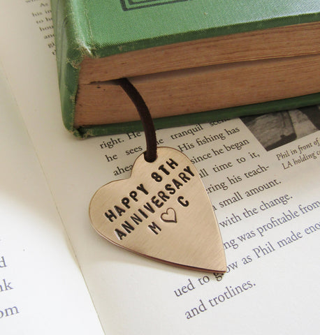 Happy 8th Anniversary - Personalized Bookmark with Initials