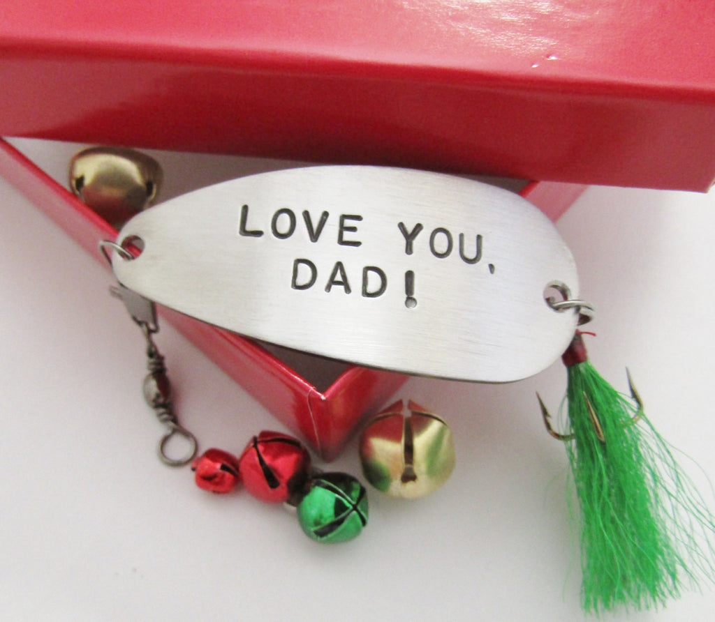 Personalized Christmas Gift for Dad Hand Stamped Christmas Gift for Daddy from Child to Father Fishing Lure and Red Gift Box I Love You Lots