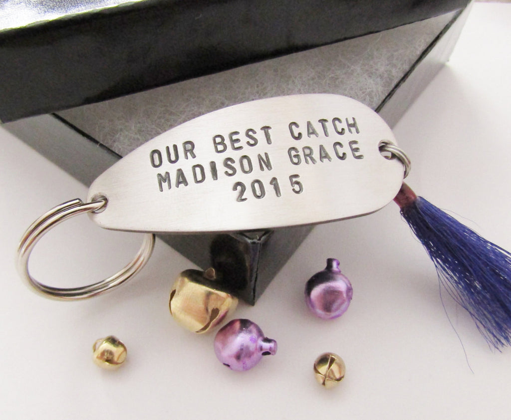 Hand Stamped Keychain Christmas from Daughter to Dad Mom Gift Best Catch Key Chain for Husband Gifts under 40 Couples Keychain Future Parent