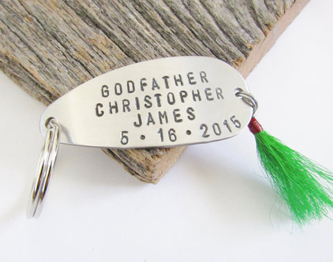 Godfather Gift for Godfather Keychain Fishing Lure New Godparent Boy Baptism Gift Godparents Asking Gift Godmother Will you Be My Godfather