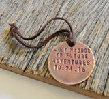 Thanksgiving Travel Gift for Relatives To Our Future Adventures Custom Metal Leather Luggage Tag Him and Her World Traveler Anniversary Gift