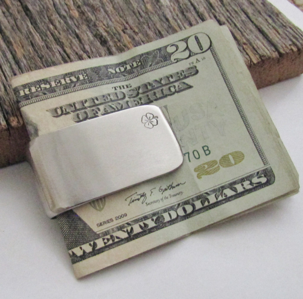 Clover Money Clip Lucky Us Charm Irish Luck Shamrock Moneyclip Irish Our Lucky Day Wedding Favor Groomsmen Best Man Wallet Clip Minimalist